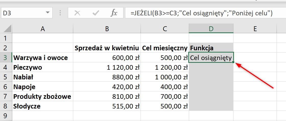 Funkcja JEŻELI Excel