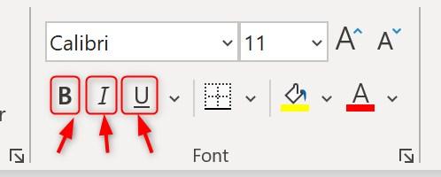 Bold, italics and underline