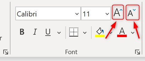 Changing font size