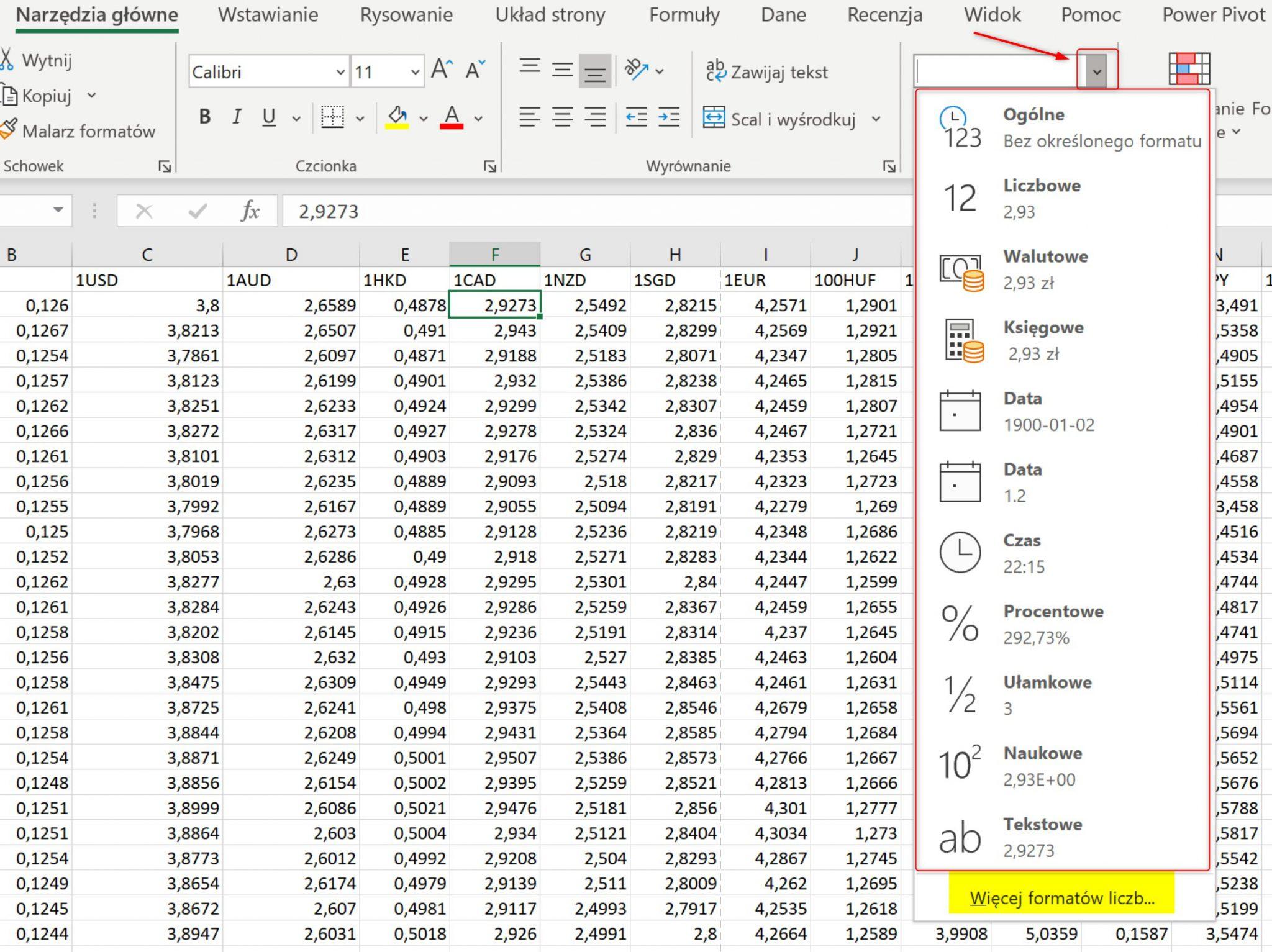 Formaty danych w Excelu